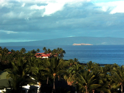 early morning view of Kahoolawe from our room at the Grand Wailea