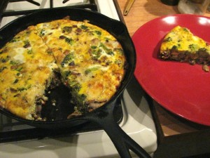 "Photo of ""Chilaquiles"" frittata of broccoli, mushrooms, salsa and corn tortillas; Lokelani green salad"