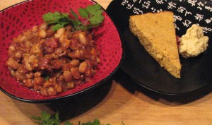 Photo of Pinto bean chili with kefir skillet bread and Lokelani honey butter