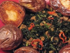 Photo of Roast potatoes and orange-braised kale