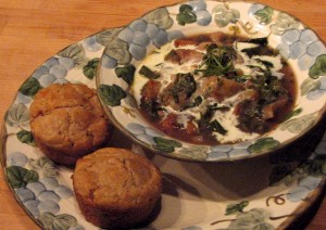Photo of Rustic potato-leek soup with wholegrain biscuits