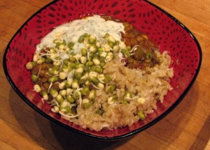 Photo of Green lentil dal with aromatic brown rice and kefir mint raita